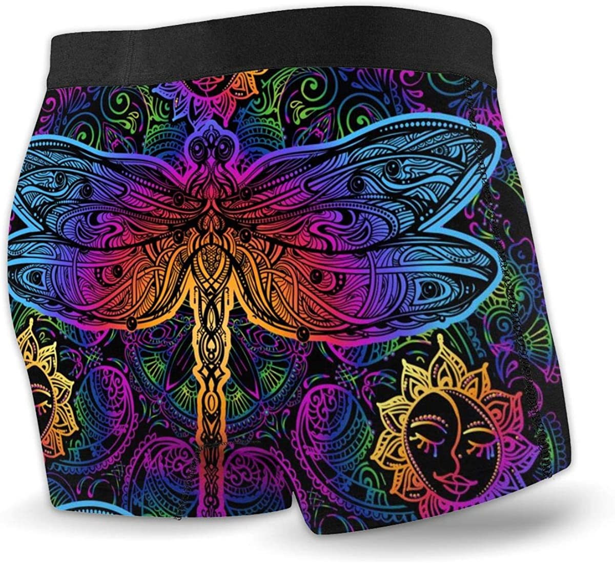 Mens Boxer Briefs Indian Mandala Paisley and Dragonfly Low Rise Trunks Breathable Bikini Underpants Boys Underwear