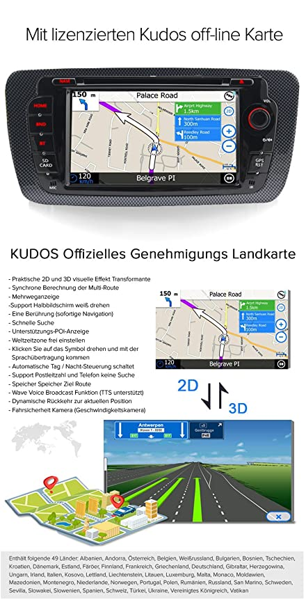 A-Sure Autoradio GPS Navigation DVD VMCD RDS Bluetooth Spigel Link ...