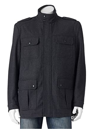 1bd314408e5 Apt 9 Men s Herringbone Modern Fit 4-Pocket Wool Storm Coat (Large ...