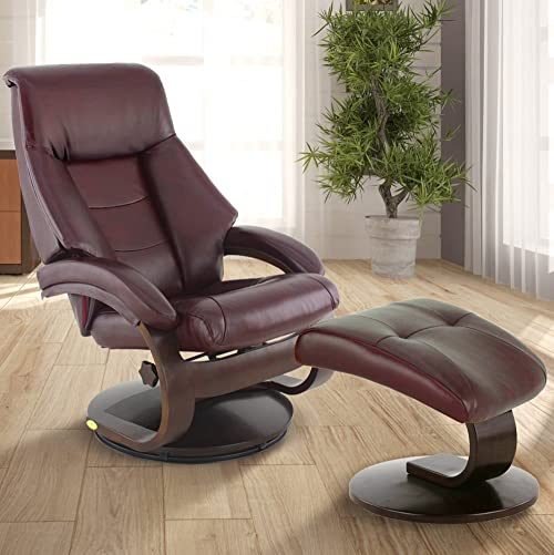 Comfort Chair Oslo Collection by Mac Motion Mandal Recliner and Ottoman Top Grain Leather, Merlot Alpine