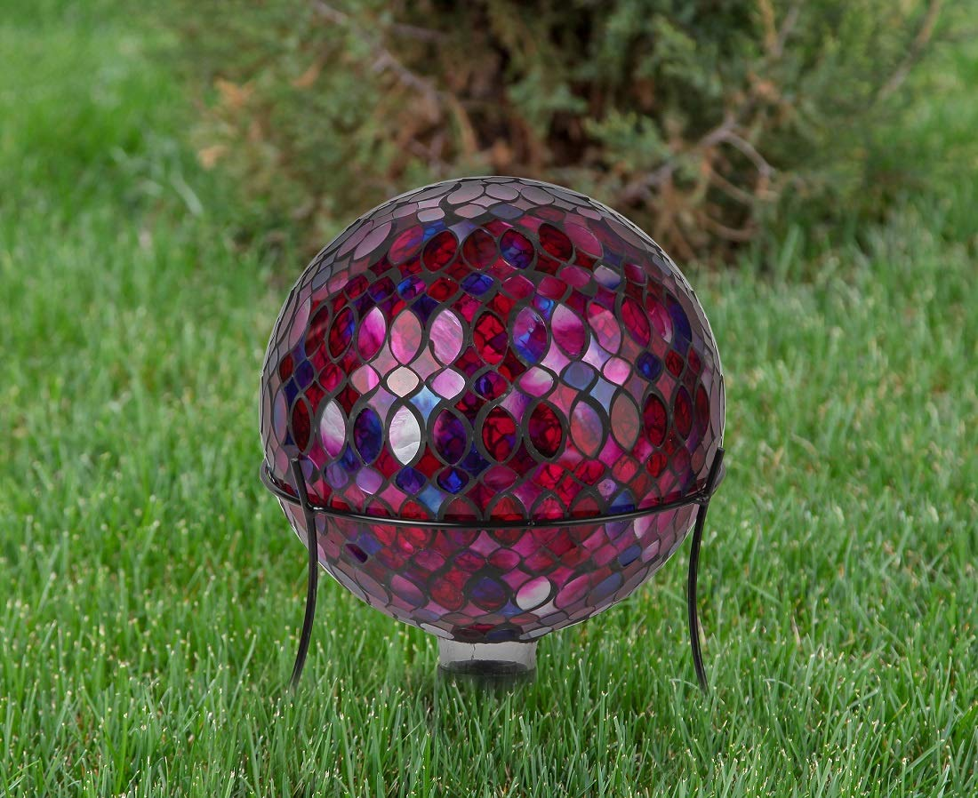 Lily's Home Colorful Mosaic Glass Gazing Ball, Designed with a Stunning Holographic Petal Mosaic Pattern to Bring Color to Any Home and Garden, Red, Blue & Purple (10 Inches Dia.) by Lilyshome (Image #2)