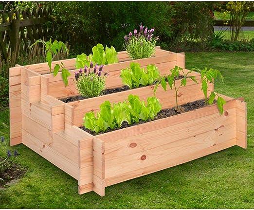 designfun - Jardinera de Madera de Pino con 3 baldas (100 x 75 x ...