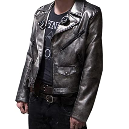 Quicksilver X-Men Apocalypse Evan Peters Silver leather jacket at Amazon Mens Clothing store: