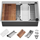 X Home 33x22 Inch Drop In Kitchen Sink with Cutting Board, Bottom Grid and More,16 Gauge Stainless Steel, Easy to Install