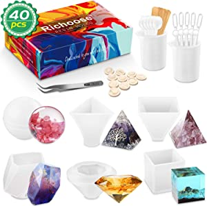 Richoose 40Pcs Resin Silicone Mold Set Includes 6Pcs Epoxy Resin Casting Molds with Sphere, Cube, Pyramid, Cone, Stone, Diamond and 34Pcs Making Tools for DIY Craft Home Decor
