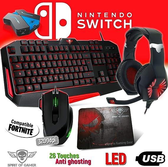 Spirit Of Gamer Pack Teclado, Ratón, Auriculares y Alfombrillas Pro MKH3 para Switch – Convertidor Incluido – Retro Iluminado: Amazon.es: Electrónica