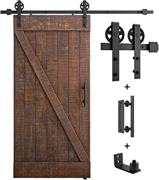 Fit 40 Door Panel Smoothly and Quietly, Sliding Barn Door Hardware Whole Set 6.6FT for Single Door Easy Installation Extra Includes 1x Pull Handle Set /& 1x Floor Guide