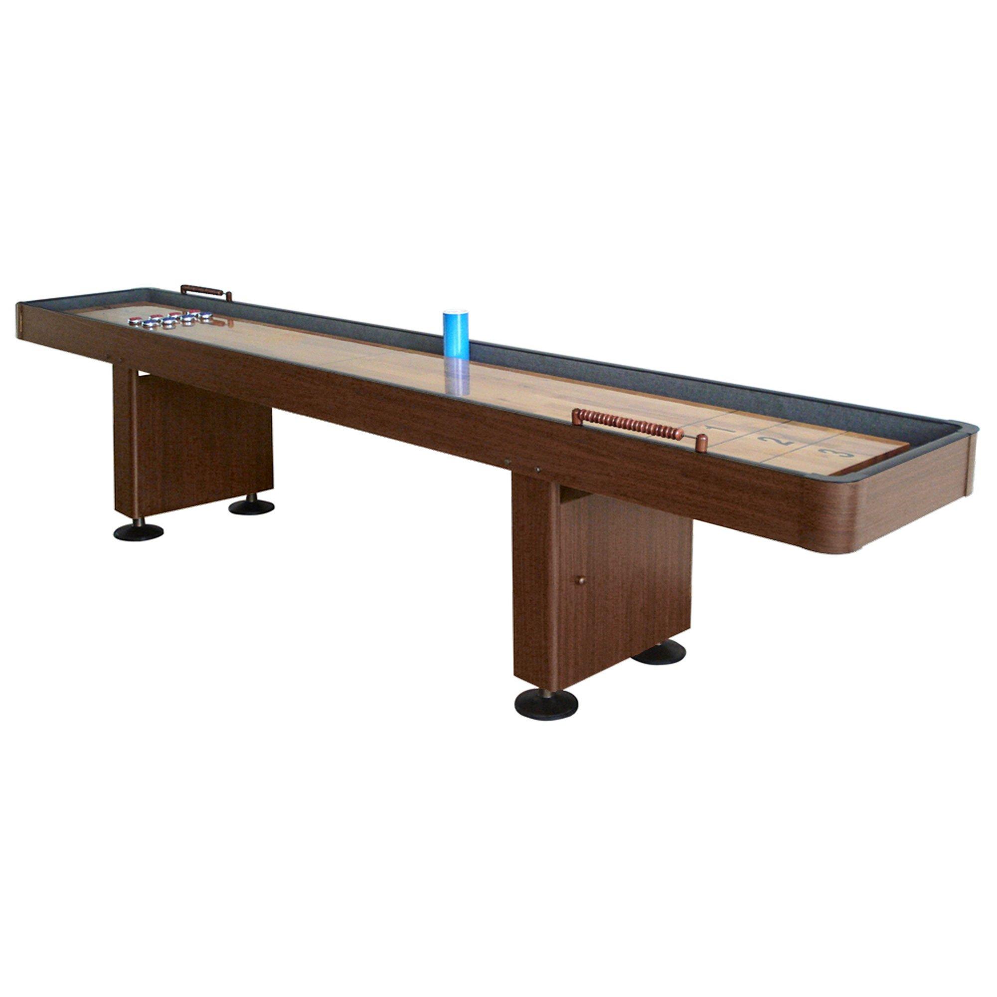 Hathaway BG1212 Challenger Shuffleboard Table w Walnut Finish, Hardwood Playfield, Storage Cabinets by Hathaway