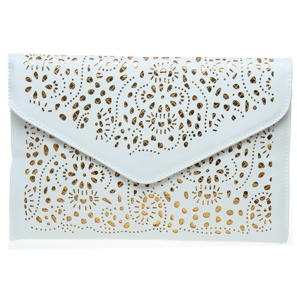 Womens Faux Leather Neon Hollow Flowers Envelope Summer Clutch Purse (white)