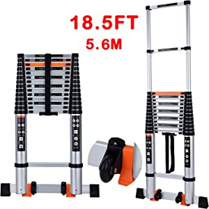 Telescoping Ladder Extension Multi-Purpose 18.5 FT Aluminum Foldable Industrial Compact Loft Ladder Household Daily or Emergency Use Portable Extendable Step Ladders 330 lb Large Loading Capacity