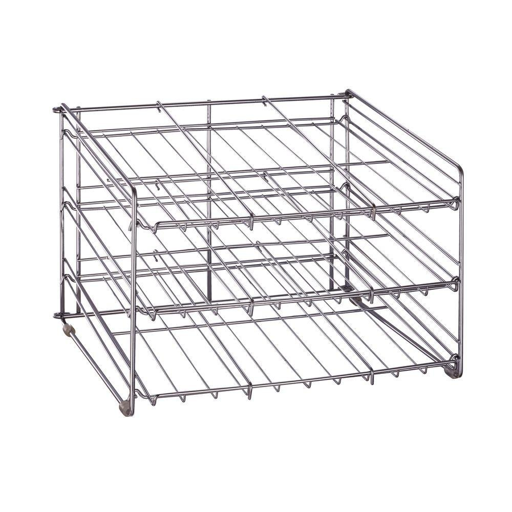 Chrome Wire Can Storage Rack - (15.87 in. x 18 in. x 12.75 in.) Slanted 3 Tier Design, Perfect Storage For Any Kitchen
