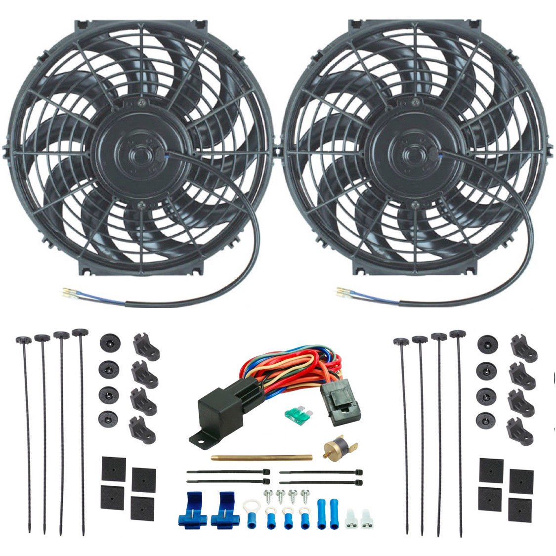 "American Volt Dual 12"" Inch Electric Radiator Cooling Fans Fin Probe Fan Thermostat Switch Kit"