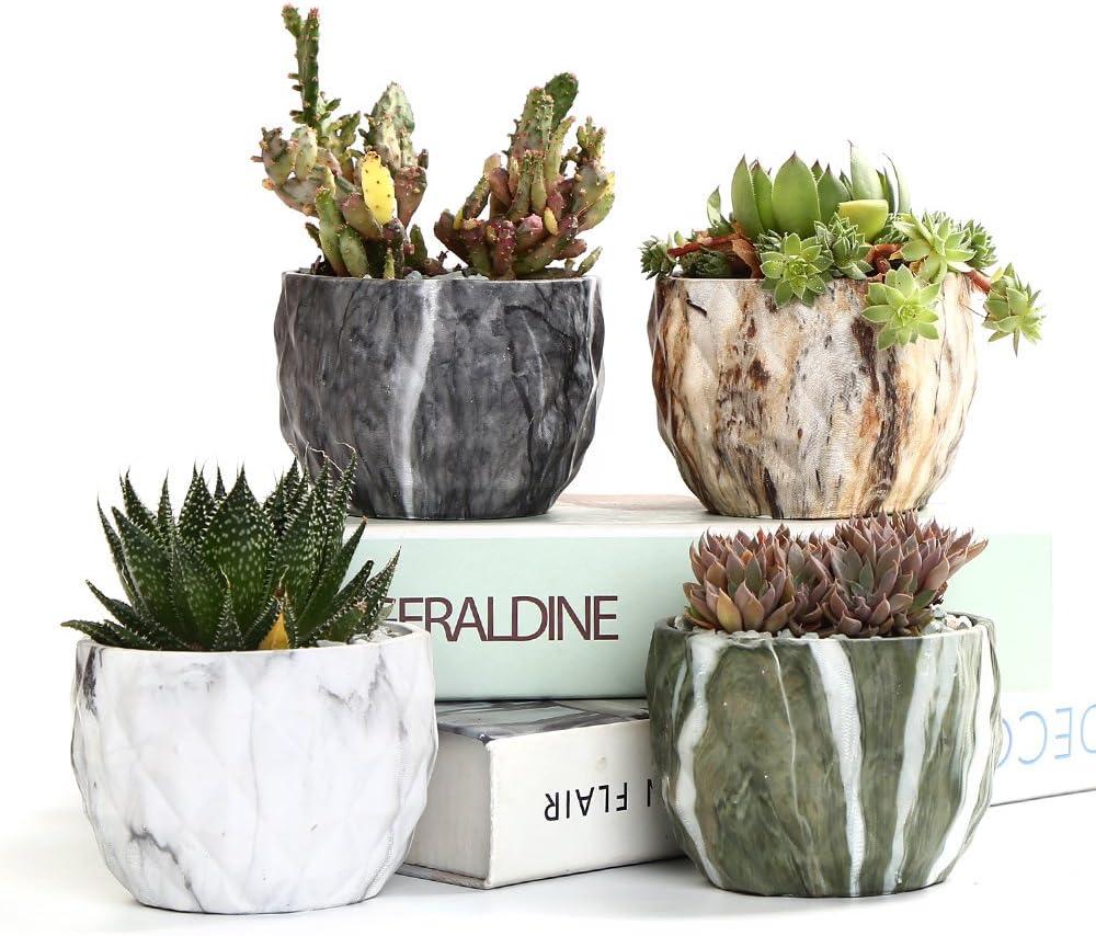 SUN-E de Estilo Moderno Marbling cerámica Tiesto Suculento/Cactus Maceta Macetas Macetas Bonsai de contenedores con el Agujero de 8,5 cm Idea Perfecta del Regalo (4 En Set)
