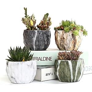 Sun-E Modern Style Marbling Ceramic Succulent Cactus Planter Pots