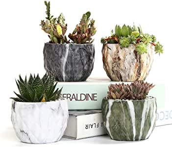 SUN-E Modern Style Marbling Ceramic Flower Pot Succulent/Cactus Planter Pots Container Bonsai Planters With Hole 3.35 Inch Perfect Gife Idea(4 In Set)