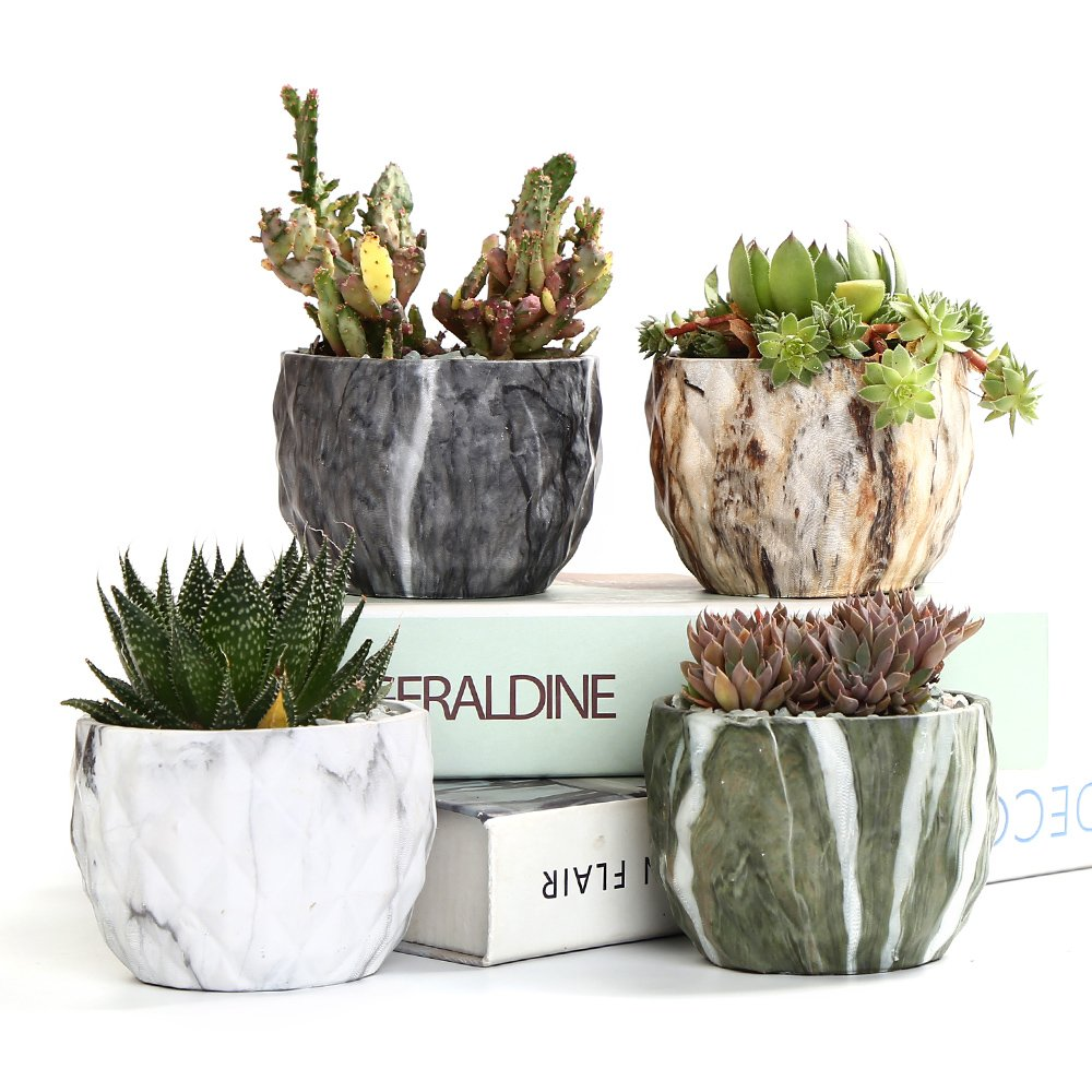 Sun-E Modern Style Marbling Ceramic Flower Pot Succulent/Cactus Planter Pots Container Bonsai Planters with Hole 3.35 inch Perfect Gift Idea(4 in Set) by SUN-E