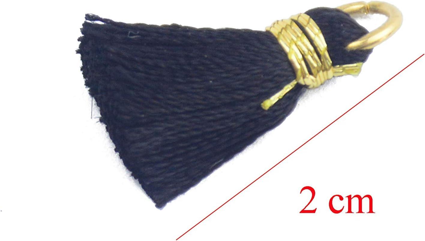 Schwarz 50 St/ück 0.8 Zoll Soft Handgemachte Seidige Glasschlacke Mini Quaste Ohrring Winzige Kurze Klobige Quasten mit Gold Jump Ring f/ür Ohrringe DIY Schmuck Machen Souvenir