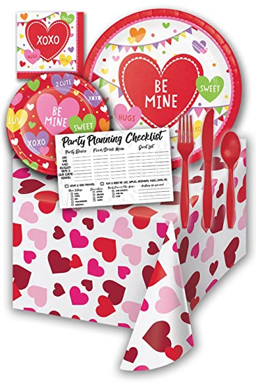 Amazon Com Be Mine Heart Valentines Day Party Supply Pack Bundle