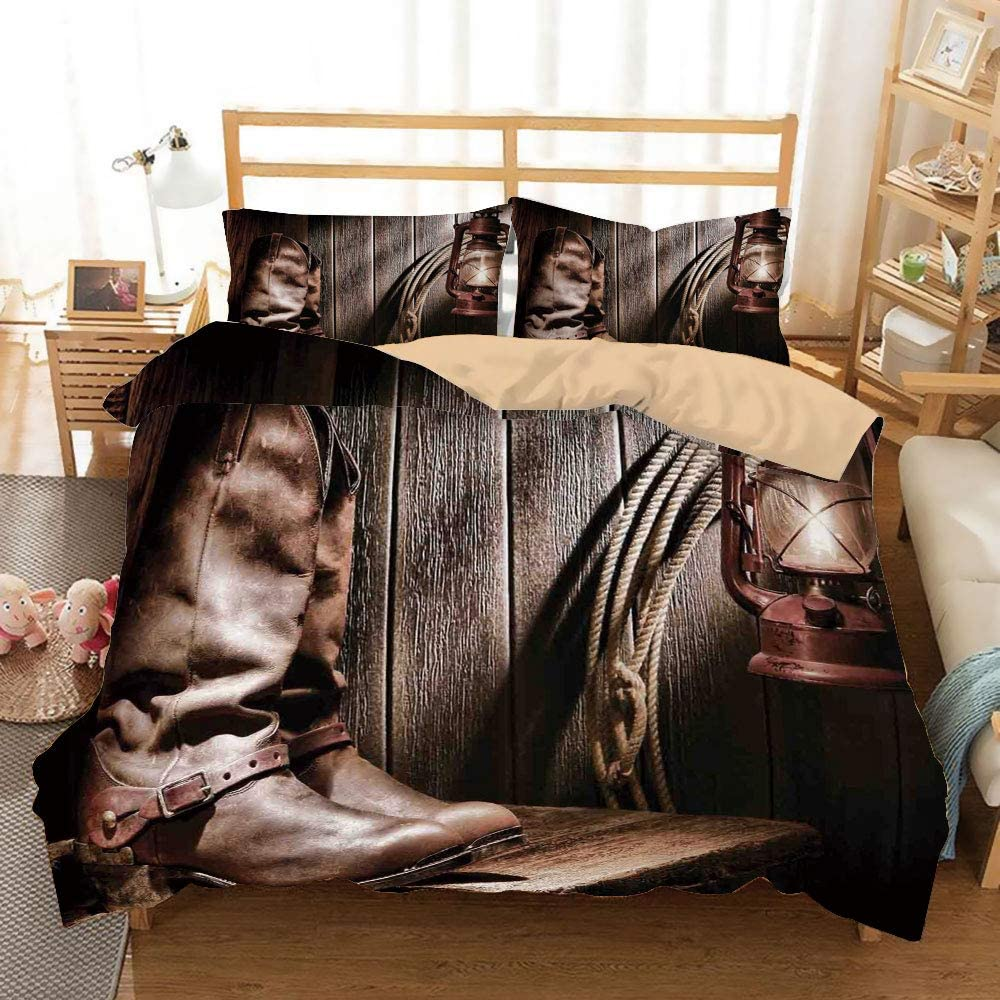 SoSung Western Decor Khaki Duvet Cover Set Full/Queen Size,Dallas Cowboys and Lantern on a Bench in Vintage Ranch Nostalgic Folkloric Print,Decorative 3 Piece Bedding Set with 2 Pillow Shams,Brown