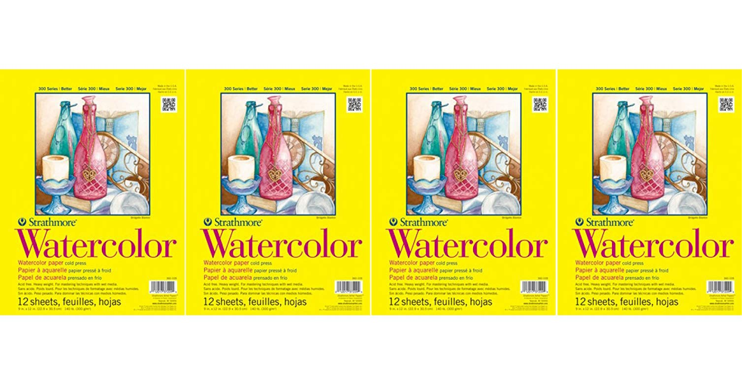 Strathmore (360-111 300 Series Watercolor Pad, 11''x15'', 12 Sheets (Fоur Расk) by Strathmore