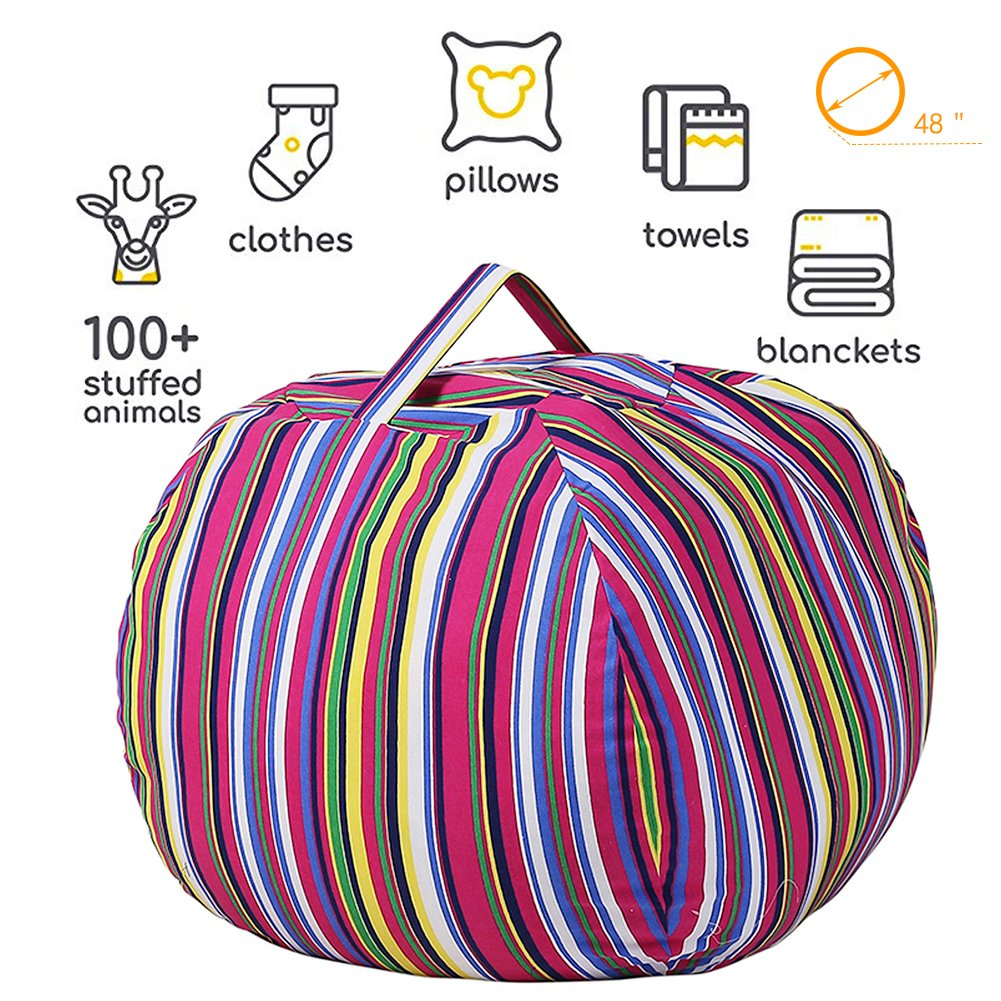 Stuffed Animal Storage Kids' Bean Bag Chair - Cotton Canvas Children's Plush Toy Organizer storage bag, Storage Solution for Plush Toys, Blankets, Towels & Clothes (48'',Colorful stripes) by Lanlin (Image #2)
