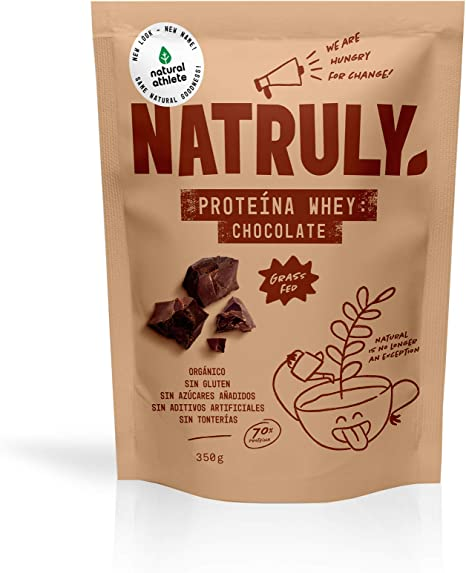 Proteína Whey Chocolate NATRULY 70% Proteína de Suero de Leche de Vacas de Pastoreo Sin Azúcar, 100% Natural, Sin Gluten –350g