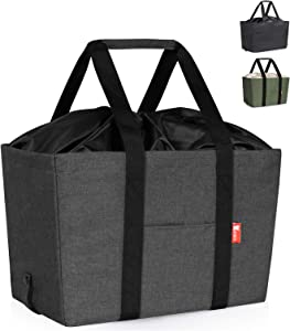 30L Large Collapsible Shopping Bag, Insulated Soft Reusable Grocery Bags, Heavy Duty Utility Tote Bag with Reinforced Bottom, Durable Polyester Fabric and Upgraded Drawstring Closure (Grey)