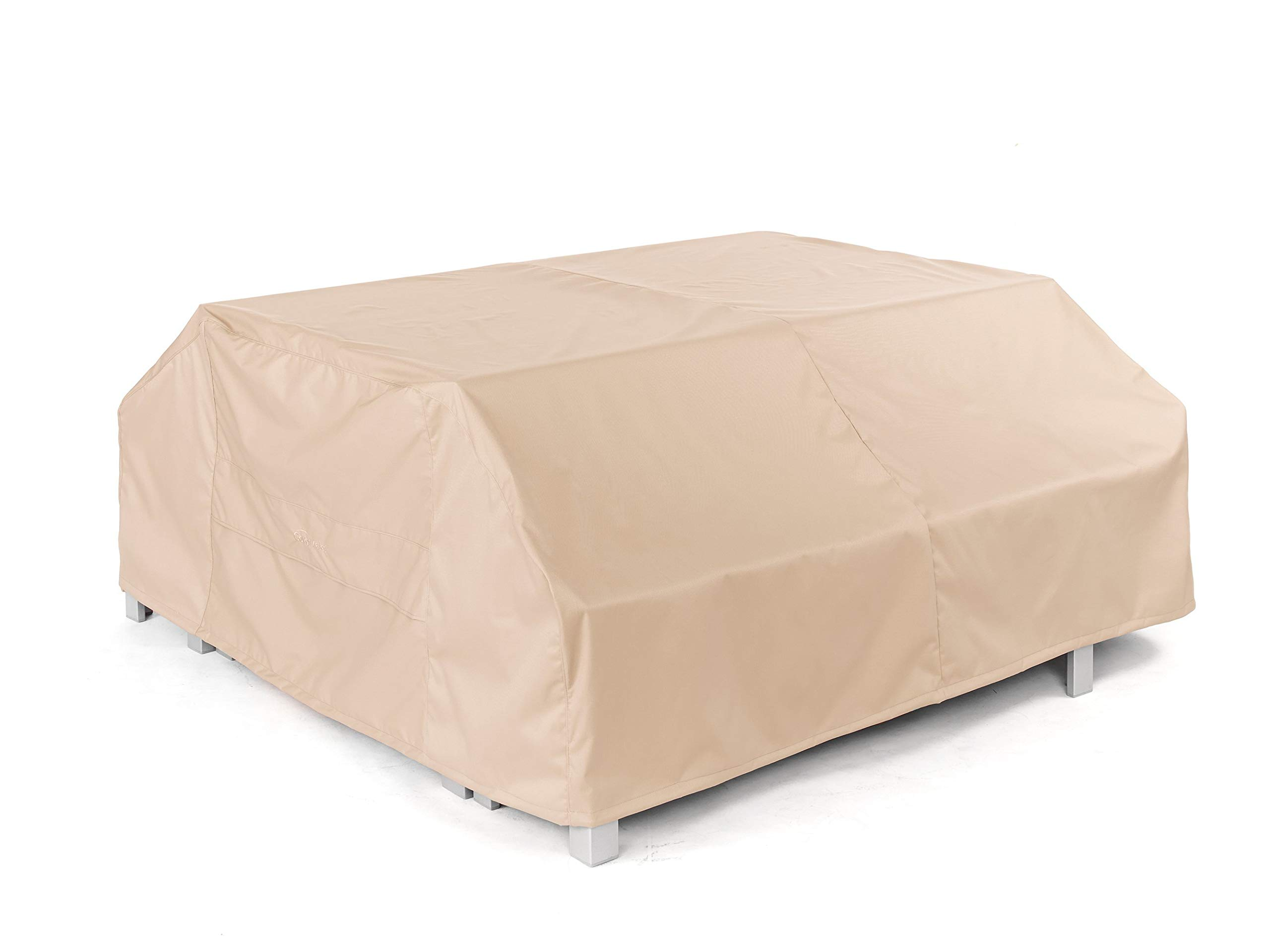CoverMates - Picnic Table Cover - Fits 76 Inch Width, 62 Inch Depth and 32 Inch Height - Ultima Ripstop - 600D Fade Resistant Poly - Breathable Covered Ventilation - 7 Year Warranty - Ripstop Tan