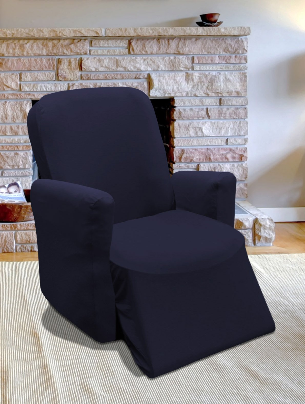 Linen Store Stretch Jersey Slipcover, Soft Form Fitting, Solid Color (Recliner, Navy) by Linen Store