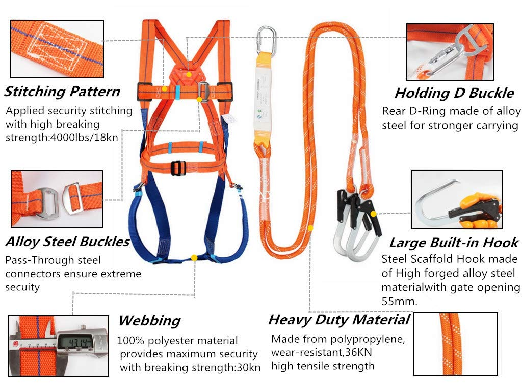 Construction Full Body System clsw Safety Harness Fall Protection Kit JO-2