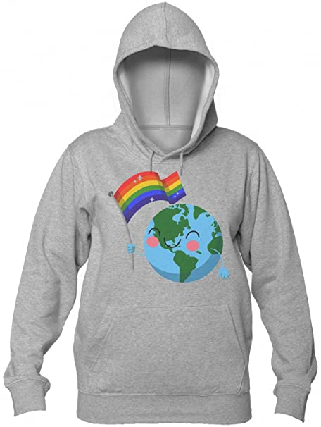 World Pride Happy Globe Waving Gay Flag Mujeres sudadera con capucha: Amazon.es: Ropa y accesorios