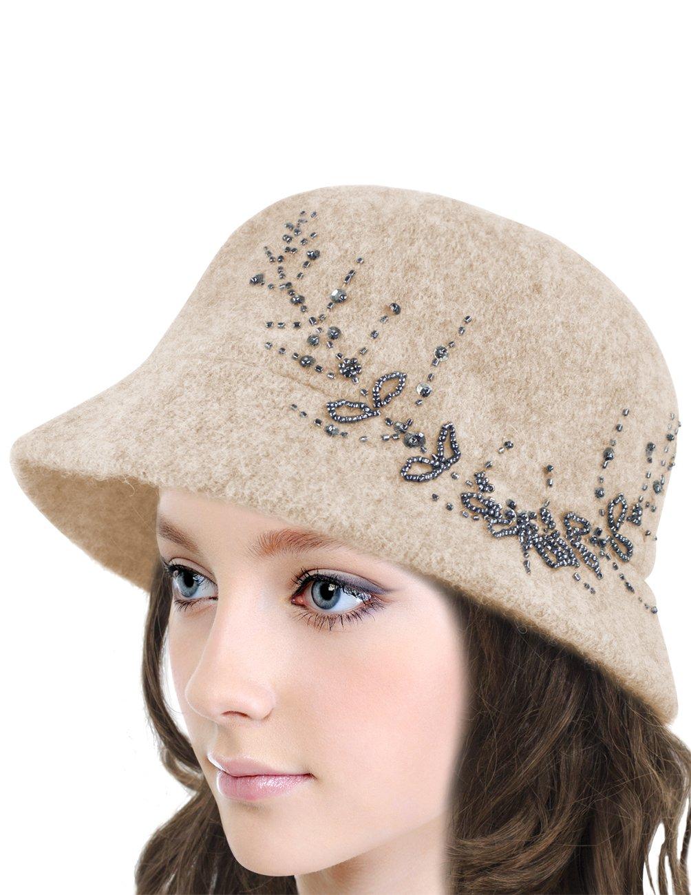 Dahlia Women's Wool Blend Hand Beaded Winter Bucket Hat/Cloche Hat - Tan by Dahlia (Image #2)