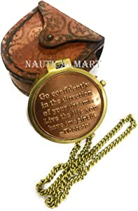 NauticalMart Thoreau's Go Confidently Quote Engraved Compass with Stamped Leather case Camping Compass, Boating Compass, Gift Compass, Graduation Day Gifts