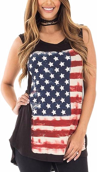 QIYUN.Z Bandera Americana Día De La Independencia Negro Irregular Camisetas Sin Mangas Camiseta Tops