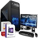 Multimedia PC mit Monitor AMD A8-7600 4x3.1GHz |ASUS Board|24 Zoll TFT|8GB DDR3|1000GB HDD|Radeon R7 Series HDMI|DVD-RW|USB 3.0|SATA3|Sound|Windows 10 Pro|Made in Germany|3 Jahre Garantie