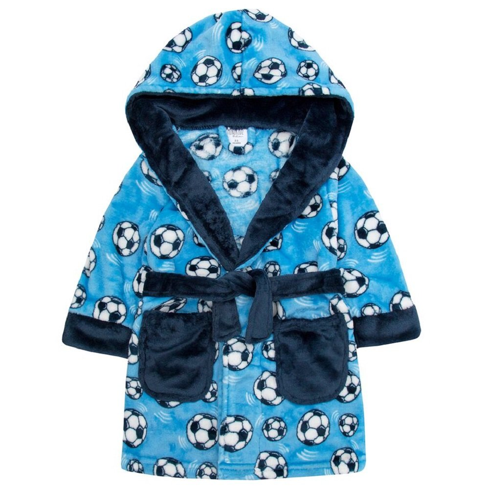 Dreamz Boys Toddler Childrens Football Print Dressing Gown Hooded Robe