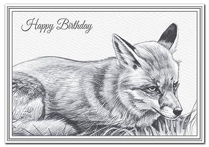 Fox Biglietto Di Compleanno Con Una Volpe Rossa Esclusiva Disegno