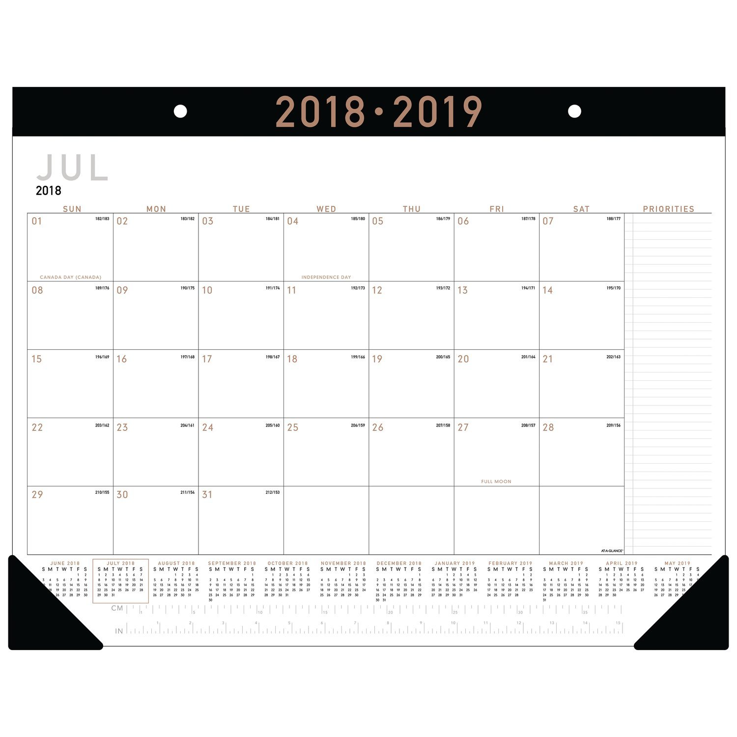 AT-A-GLANCE 2018-2019 Academic Year Desk Pad Calendar, Standard, 22 x 17, Contemporary (AY24X00)