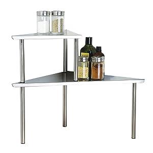 Cook N Home 2-Tier Stainless Steel Corner Storage Shelf Organizer, Triangle