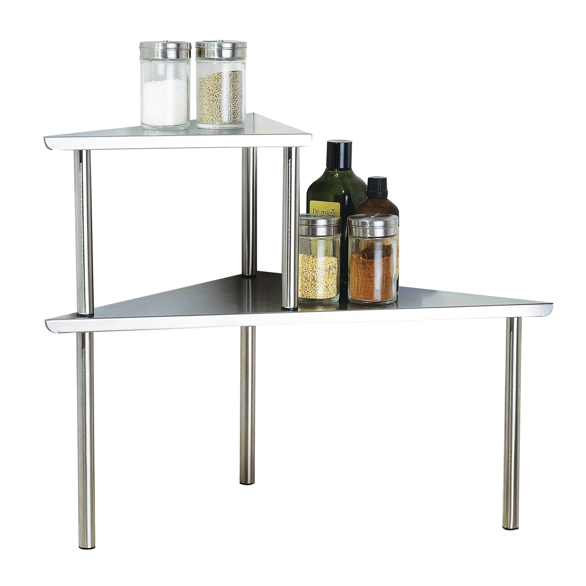 Cook N Home 2-Tier Stainless Steel Corner Storage Shelf Organizer, Triangle by Cook N Home