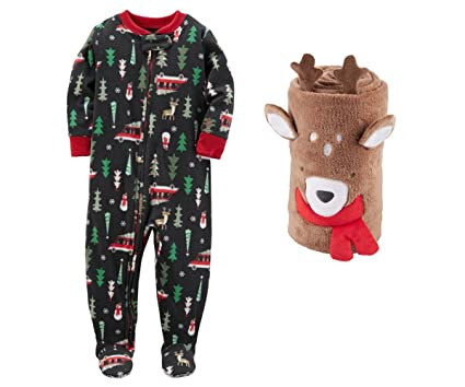 bc4c837f84 Carters Baby Boys Christmas Fleece Footed Sleeper With Roll Blanket (Black  Forest Reindeer