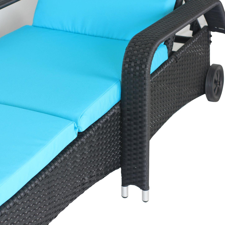 Amazon.com: meiyi Patio Reclinable y negro PE chaise longue ...