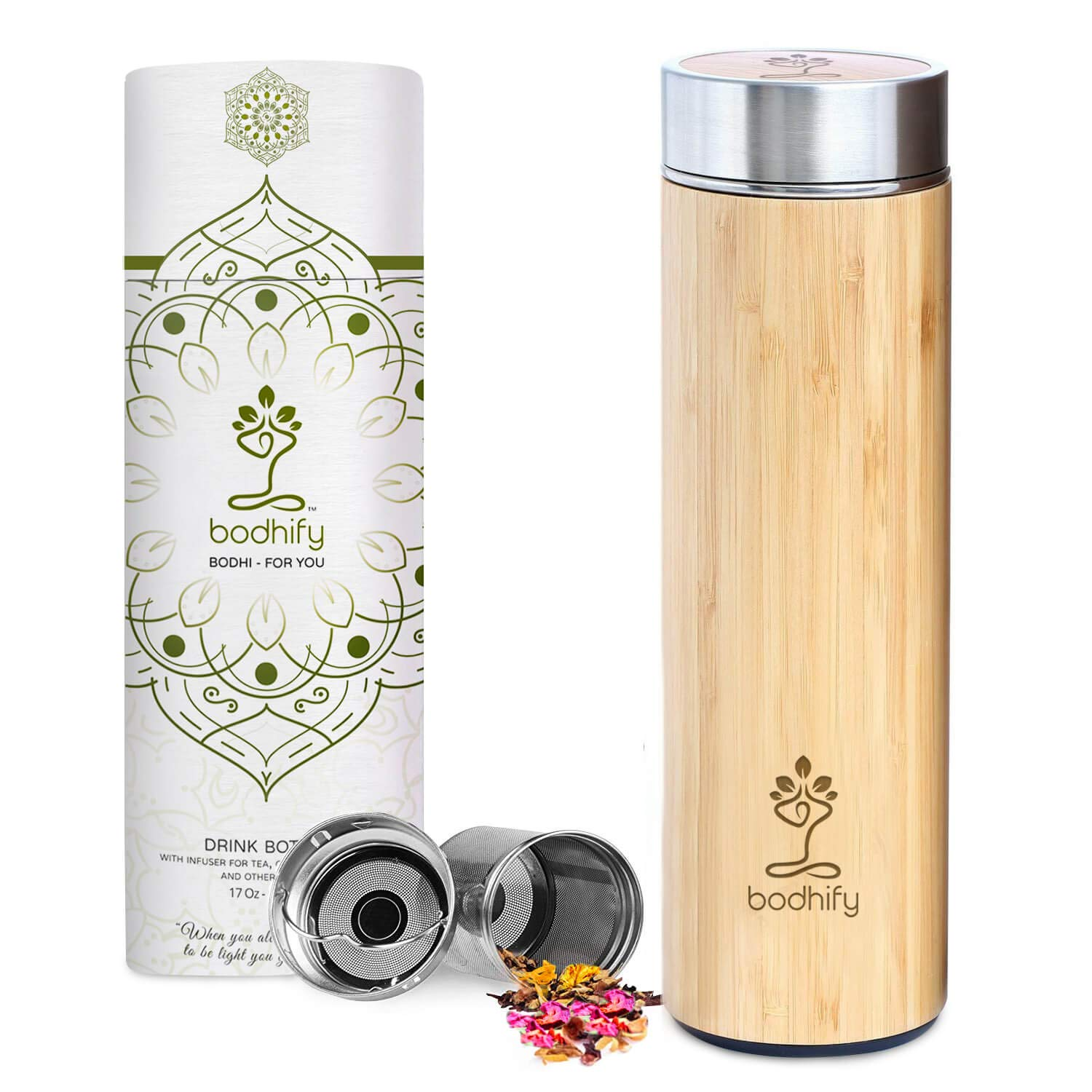 Original Bamboo Tumbler Tea Infuser with Strainer 17oz Ideal Gift for Tea Lovers