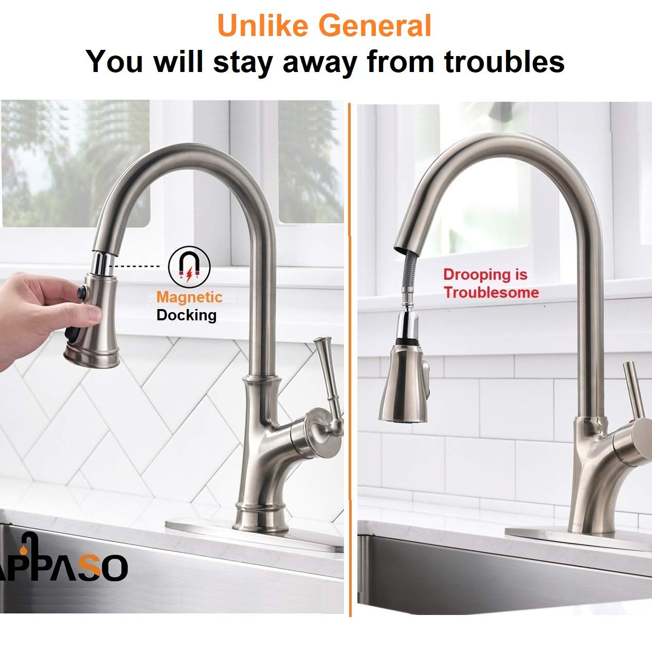 APPASO Pull Down Kitchen Faucet with Magnetic Docking Sprayer, Stainless Steel Brushed Nickel Single Handle Commercial High Arc Single Hole Pull Out Kitchen Sink Faucets with Deck Plate by APPASO (Image #3)
