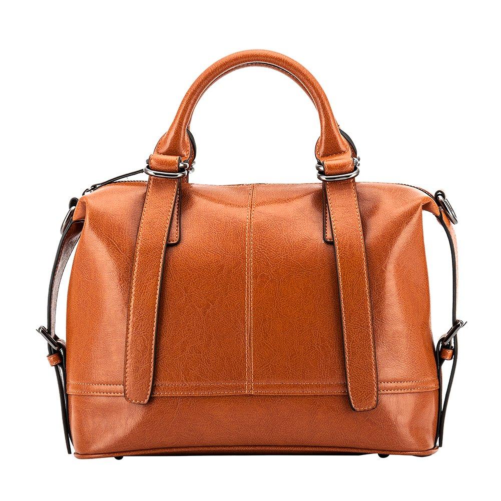 Ladies Genuine Leather Tote Purses Handbags Top Handle Pure Leather Bag Hobo Shoulder Crossbody Bags (brown)