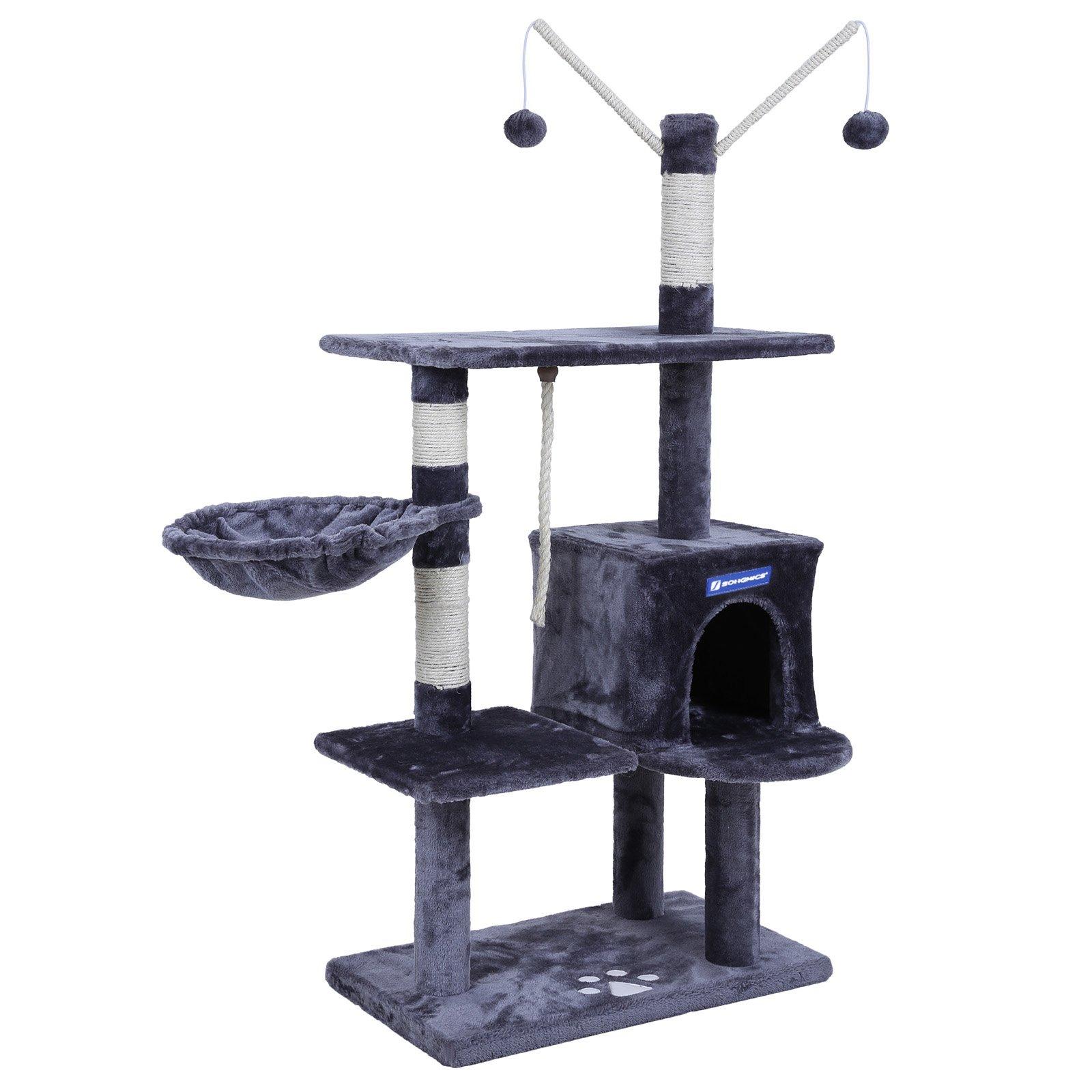 SONGMICS FEANDREA Árbol para Gatos Rascador con nidos Plataformas Bolas de Juego Gran Base 134 cm