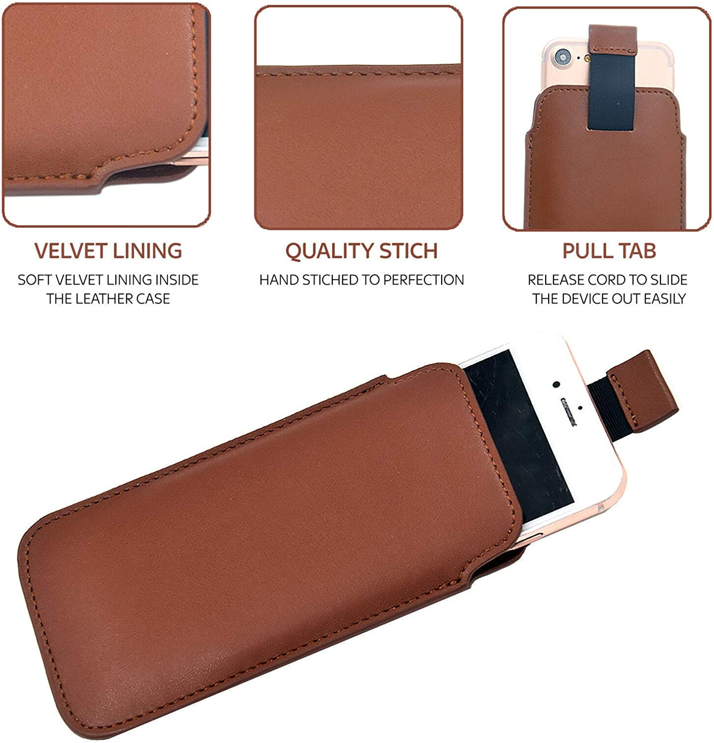 For Nokia 3.1 Plus Slim Real Genuine Soft Leather Pull Tab Slide In Pouch Sleeve Case Cover Black DOT