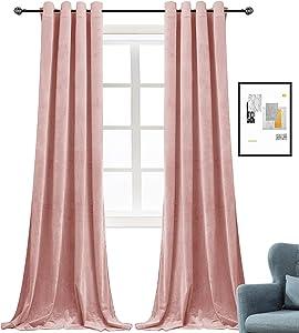 Super Soft Luxury Velvet Curtains for Living Room Light Blocking Velvet Curtain Panels Privacy Grommet Window Drapes for Bedroom/Sliding Glass Door, 2 Panels (Pink, 52W84L)