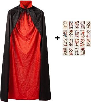 Meerveil Vampiro Halloween Capa, Capa Reversible con Cuello de Pie ...
