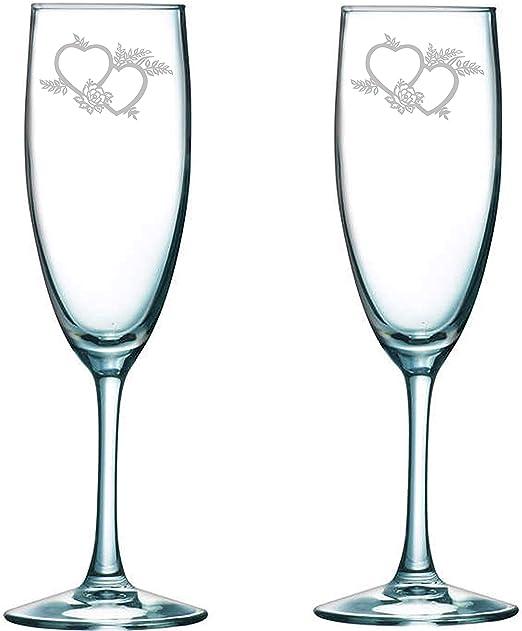 Mr /& Mrs Bride And Groom Wedding Rose Set Of 2 Champagne Flute Wine Glasses Gift
